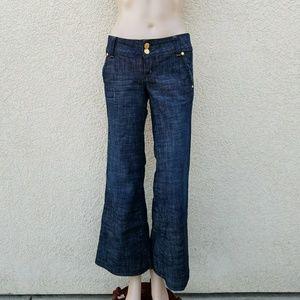 Bebe Premium Denim Dark Wash Wide Leg Jeans Sz 26P